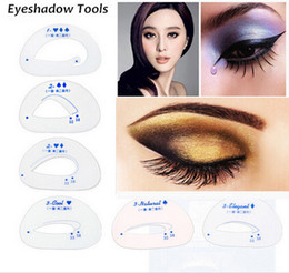 Wholesale-6pcs pack Cat Eye & Smokey Eye Makeup Stencil Eyebrow Stencils Eyeshadow models eyeshadow card auxiliary tools makeup tools
