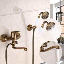$enCountryForm.capitalKeyWord NZ - Antique Brass Wall Mount Shower Faucet Mixer Tap White New ABS Handle Bathtub spout New