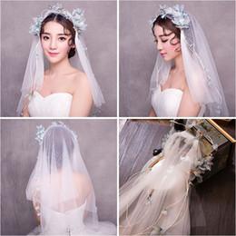 $enCountryForm.capitalKeyWord NZ - Woman headdress hair Lomen Korean bride wedding veil headdress flower wreath blue hair accessories 154057