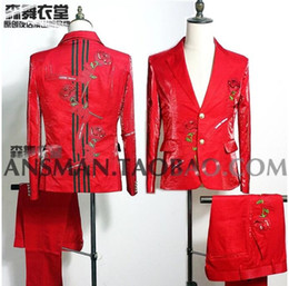 $enCountryForm.capitalKeyWord Canada - Nightclubs Male Singers Blazer Men Dj Host Hair Stylist Red Embroidery Rose Flash Slim Suit Suits Men Wedding Suit Jacket S-4XL