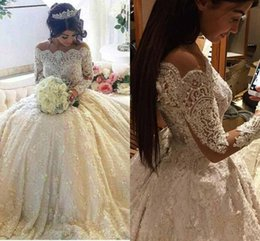 2017 Luxury Vintage Full Lace Wedding Dresses Off Shoulder Bateau Long Sleeves A Line Bridal Gowns With Beaded Pearls Court Train BA3212