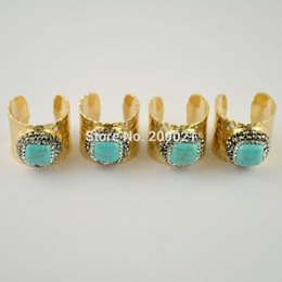 $enCountryForm.capitalKeyWord Canada - Finding ~ Gold Pave Rhinestone Turquoise Stone Rings Jewelry For Women 5pcs