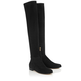 rubber alligators UK - MYREN FLAT Black Stretch Suede and Suede Over the Knee High Quality Winter Fashion Female Sexy Thigh-High Boots