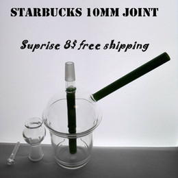 starbucks oil rig pipe UK - 2017 Mini Starbucks Cup 10mm joint Glass bong! Dabuccino Style Inspired Starbuck Themed Concentrate Cup oil Rigs smoking water pipes