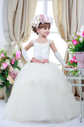 $enCountryForm.capitalKeyWord Canada - Cute Kid Pageant Dresses For Wedding Birthday Party Gifts Elegant Appliques Belt Communie Toddler Ball Gowns Flower Girl Dresses