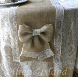 Burlap Chairs Canada - Wholesale- Natural Burlap Jute Table Runner for Rustic Classic Vineyard Wedding table decoration Home table chair decoration
