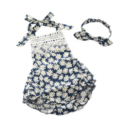 $enCountryForm.capitalKeyWord NZ - Floral Baby Clothes Lace Summer Baby Girls Clothing Cotton Sleeveless Ruffle Bottom Girls Romper Headband Set Floral Kids Cloth