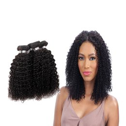 """Curly Human Hair For Weaves Canada - only for woman Brazilian Afro Kinky Curly Virgin Hair Bundles 100 Human Hair Weaving Natural Color 8""""~28"""" Hair Extensions Free Shipping"""