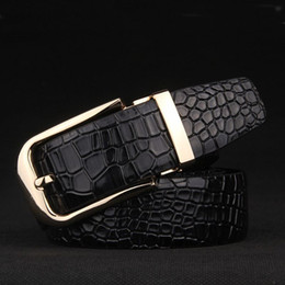 $enCountryForm.capitalKeyWord NZ - New Arrival Crocodile Grain Belts Men Cow Genuine Leather Pin Buckle Metal Black Belt High Quality Luxury Patent Leather Mens Designer Strap