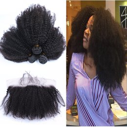 $enCountryForm.capitalKeyWord Canada - Mongolian Afro Kinky Curly Hair With Lace Frontal Closure 3 Bundles Unprocessed Virgin Human Hair Weaves Closure Extensions Natural Black