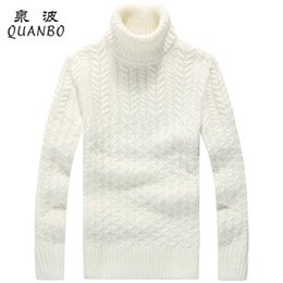 Suéteres De Cuello Alto Gruesos Baratos-Al por mayor-Solid Color Mens Turtleneck 2017 Nueva llegada Winte Thick Sweater jacquard estilo Long mangas pullovers Blanco Negro M-3XL