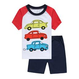 Baby Boy T Shirt Cars Canada - Cars Print Baby Pajamas Clothes Suit Summer Boys T-Shirts Shorts Pants 100% Cotton Toddler Clothing At Home PJ'S 2 3 4 5 6 7 Years Tee Shirt