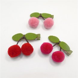 Wholesale 20pcs Felt Cherry Hair Clip Pink Red Plush Fall Winter Hairpin Handmade Sweet Fruit Princess Barrettes Top Quality Hair Grip