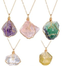 Charms Wire Wrapping Australia - Handmade Wire Wrapped Irregular Natural Stone Fluorite Crystal Pendant Necklaces For Women Gold Plated Link Chain Necklace Jewelry