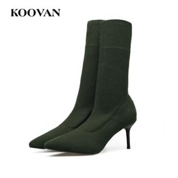 Koovan Ankle Boot Fashion Boots Sock Shoe 7 Cm High Heel 2017 Spring Autumn Women  Stretch Fabric High Quality Free Ship W623 00e2c2f7871d
