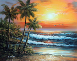 oil painting beach framed NZ - Framed Hawaii Sunset Surf Beach Palm Trees Sand,Hand-painted Seascape Art oil painting On Thick Canvas,Multi sizes Free Shipping J022
