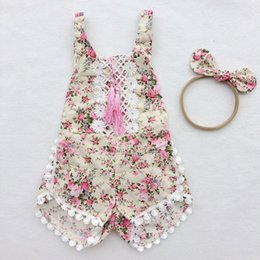 Ensembles De Vêtements Pour Bébés Nouveau-nés Pas Cher-Vêtements pour bébés Floral Tassel Girls Romper Nylon Bow Headband Girls Outfit Lace Trim Newborn Jumpsuit Summer Baby Clothes Set