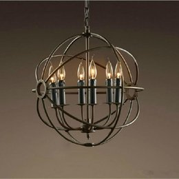 Discount hardware chandelier - RH Lighting Restoration Hardware Vintage Pendant Lamp Foucault's Iron Orb Chandelier Rustic Iron RH Loft light Glob