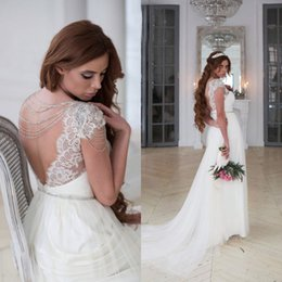 $enCountryForm.capitalKeyWord Canada - Sexy Backless Beach Wedding Dresses Sheer Bateau Neck Capped Sleeves Beading Crystals Lace Appliques Tulle Bohemian Bridal Gown LS 31-8