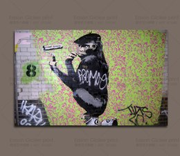 canvas prints banksy Canada - BANKSY GRAFFITI STREET ART SHAVE KONG GIANT WALL ART PICTURE PRINTED ON CANVAS PICTURE WALL DECOR