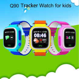 gps wifi smart watch Canada - Xmas Gift Q90 Baby kids Smart Watch GPS tracker WIFI For Kids 1.22 Touch Screen Smartwatch Anti Lost PK Q60 Q80 with retail box Free DHL 5pc