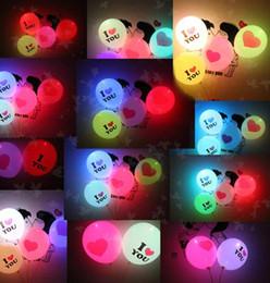 "Balloon Heart Valentine Canada - 12"" High Quality Led Ballons Valentines Flash Balloons Heart Glowing Latex Ballons Wedding Love Balloon Marriage Party Balloons Mix Designs"