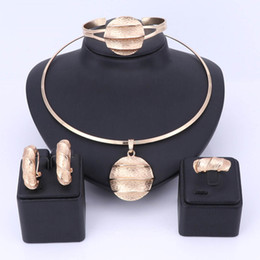 Red Indian Costumes Australia - Dubai Gold Color Jewelry Sets Necklace Earrings Bangle Ring Indian Sets For Women Costume Accessories Wedding Bridal Gift