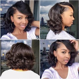 16inch Human Hair Wig Canada - Wet And Wavy Full Lace Bob Wigs With Natural Hairline 8-16inch Peruvian Human hair Wigs LaurieJ Hair