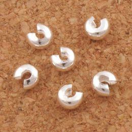 Vente en gros Argent plaqué Crimp Knot Covers Beads Spacers 3mm L1750 1200 Pcs / lot Bijoux bricolage vente chaude articles