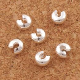 Großhandel Silber überzogener Kräuselungs-Knoten deckt Distanzscheiben 3mm L1750 1200Pcs / lot Schmuck DIY heiße Verkaufseinzelteile ab