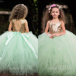 Sequin Toddler Visuel Robes Pas Cher Pas Cher-Jewel Neck Sequins Flower Girls Robes Pour Mariages Backless 2017 Cute Custom Made Pas Cher Communion Toddler Pageant Robes