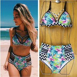 Barato Biquini Halter Cintura Alta-2017 New Sexy Bikinis Women Swimsuit High Waisted Bathing Tits Swim Halter Push Up Bikini Set L Size Swimwear