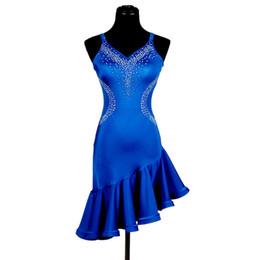 Robe De Danse Samba Latine Femmes Robe De Bal De Salsa Danse Compétition Robe Robes Tango Ballroom 2 Choix D0199 Strass Ruffled Hem