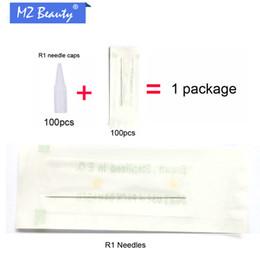 Atacado-100pcs Tattoo dicas 1RL agulhas com 100pcs Round 1 tampas de agulha Uso descartável para maquiagem permanente máquina