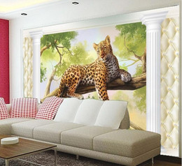 wall sticker d 2019 - 3d wallpaper custom mural non-woven Wall stickers Leopards landscape setting 3 d space paintings 3d photo wall mural wal