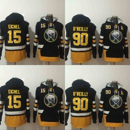 Barato Casacos De Camisola Dos Homens-2017 Mens Hoodies Hockey Jersey Buffalo Sabres 15 Jack Eichel 90 Ryan O'Reilly 100% Stitched Sweatshirts Winter Jacket Frete grátis