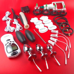 anal sex clip UK - 2017 HOT Electric Shock Therapy Kit Bondage BDSM Gear Urethral Plug Nipple Clips Anal Vaginal Dildo Gloves Cock Penis Ring Cupping Sex Toys