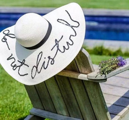 Large brim summer hats online shopping - Women Foldable Floppy Letters Sequin Embroidery Straw Sun Hat Summer Wild Large Brim With Ribbon Trim Beach Cap UV Protection