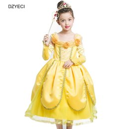 Barato Vestido Do Bebê Do Casamento-Halloween Belle Dress For Baby Girl Vestuário de fantasia Beleza e os animais Bridesmaid Party Wedding Princesa Frock Cospaly