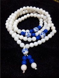 $enCountryForm.capitalKeyWord Australia - Chinese wind natural jade, blue and white porcelain tridacna diameter 7 mm beads pendant necklace with free shipping