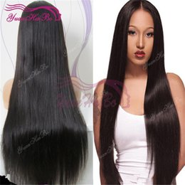 $enCountryForm.capitalKeyWord Canada - 8a grade Full Lace Wig Hot sale natural black virgin indian human hair silky straight ponytail lace front wigs free shipping