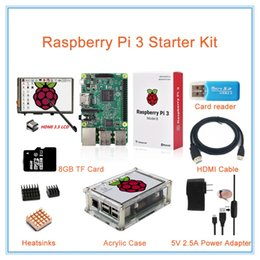 card lcd screen Canada - Freeshipping Raspberry Pi 3 Model B+3.5 inch HDMI LCD Touch Screen+ABS Case+2.5A Power Supply +8GB TF Card+Heatsinks+HDMI Cable