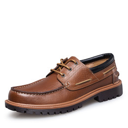 black boat dress shoes mens 2018 - Size 37-47 Men Casual Leather Flat Brown Black Loafers Luxury Casual Driving Peas Shoes Mens Boat Shoes D30 discount bla