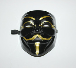 Chinese  Wholesale-Black V Mask Adult Mens Anonymous Halloween V Vendetta Movie Black Costume Mask Guy Fawkes Anonymous Halloween Party Cosplay +B manufacturers