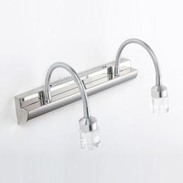 Modern LED Crystal Bathroom Wall Lamp Mirror Front Stainless Steel Adjustable Glass Head Light Washroom Sconce