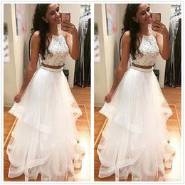 a65487fa5198 2017 New Sexy Two Pieces Tulle A Line Long Prom Dresses Beaded Crystals Top Layered  Ruffles Floor Length Evening Dresses