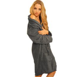 Discount sexy long pajamas for women - Wholesale- Autumn Winter Unisex women man Warm badjas female bathrobe Pajamas cotton long Dressing gowns For women home