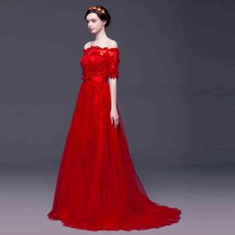 Strapless Sequin Red Dress Australia - Stunning Red Evening Dresses Strapless Half Sleeves Soft tulle with Floral Applique Shining Sequin Sweep train Prom Gowns