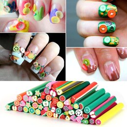 Décoration En Acrylique Pas Cher-50pcs / lot Fimo Nail Stickers Fimo Canes Fruit 3D Nail Art Décoration Polymer Clay Fimo Rods pour ongles DIY Acrylique Manicure Nart Mijb