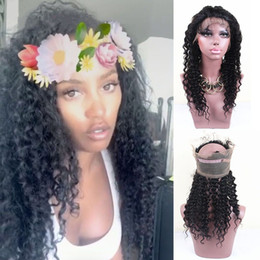 Discount lace full hair lines - Deep Wave 360 Full Lace Band Frontal Natural Hair Line Brazilian Virgin Human Hair 360 Lace Band Frontal Closure With Ad
